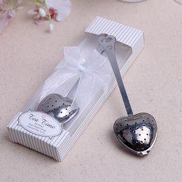 100 unids / lote Práctica Forma de Corazón de Acero Inoxidable Té Infusor Cuchara Colador Empujador Mango Ducha Herramienta Colador de té desde fabricantes