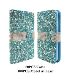 Wholesale Leather Crystal Pouch - Hybrid Luxury Stand Bling Crystal Rhinestone Diamond PU Leather Flip Wallet Cover Case for Kyocera Hydro View C6742 Reach C6743 Wave C6740