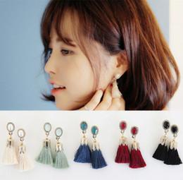 Wholesale Pink Fringe - Thread Long Tassel Earrings Rhinestone Drop Statement Fringe Earrings for Women Luxury Tear Drop Earrings European Rhinestone Tassel Dangle