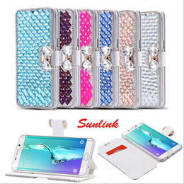 Wholesale iphone bows - 6 colors silk Bow-tie diamond leather galaxy s6 s7 s8 s8p note 8 case for iphone 6s case x 8 8p 7 7p