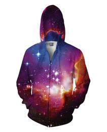 Wholesale Mens Beige Hoodie - Cosmic Forces Nasa Zipper Up 3D Print Mens Womens Sweatshirt with Hoodies Long Sleeve Light Purple Brown Multi Color Winter Spring New 2016