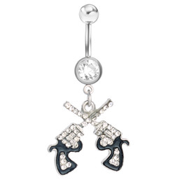 Wholesale Romantic Stainless - D0043 Clear styl belly ring belly ring double-guns styles Rings Body Piercing Jewelry Dangle Accessories Fashion Charm 10PCS