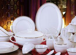 Wholesale White Ceramic Dinnerware - Ceramics 58 quality bone china dinnerware bowl set gold gift