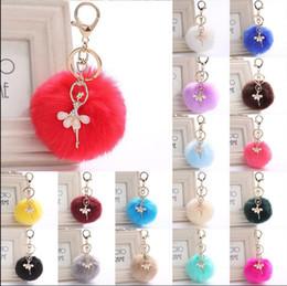Wholesale Ballet Girls Charms - PomPom Ballet Girl Key Ring Fur Pom Pom Bow Keychain Keyring Fluffy Rex Rabbit Fur Ball Key Chain Handbag Pendant Charm KKA2719