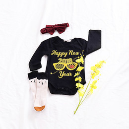 Wholesale Happy New Year Glasses - Baby Boys Romper 2018 happy new year Printed Long Sleeve Toddler Jumpsuit Spring Fashion Glasses Infant Onesie Girl Bodysuit C2656