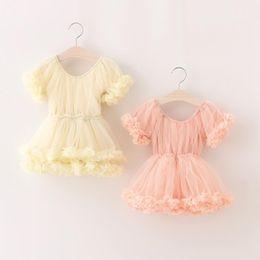 Wholesale Tutu Dresses For Girls Korean - New Summer Style Baby Girls Fashion Korean Dress Sweet Flower Petal Dress Elegant Princess Dress Good for Party Free shipping 90-130cm E961