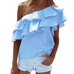 Wholesale Collar Lace Blouse - 2017 Womens Summer Sexy One Shoulder Ruffled Collar Tops Striped Short Sleeve Loose Casual Blouse Shirt