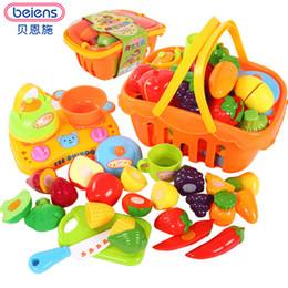 Beiens Marque Jouets 14 pcs / ensemble Cuisine Amusante Coupe Fruits Légumes Alimentaire Playset Cuisine pour Enfants Marque Jouets ABS En Plastique Coffre-fort ? partir de fabricateur