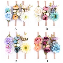 Wholesale White Flower Headbands - Fashion Girls Birthday Photo Prop Flower Kids Hair Accessory 3pcs Nylon Baby Girls Rose Headband Hot Sales