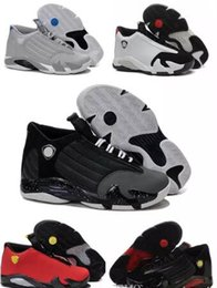 Wholesale Size 14 Flat Shoes Women - 2018 New retro 14 mens basketball shoes Green Thunder Black Toe Cool Grey mens sneaker Indiglo Oxidized sport shoes size 8-13