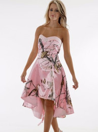 Wholesale Prom Dresses Sweethart - 2016 Realtree Pink Camo Prom Dresses 2016 New Style Custom Made Short Front Long Back Sweethart A Line Evening Formal Gowns Cocktail Party D
