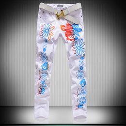 Wholesale Skinny Leg Patterned Pants - 2016 new fashion Skinny leg jeans long men male printed denim pants cool cotton designer good quality brand trousers
