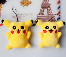 Wholesale Pikachu Plush Doll Christmas - New Pikachu Pendant Keychain Plush dolls Poke plush toys cartoon poke Stuffed animals toys soft Christmas toys best Gifts
