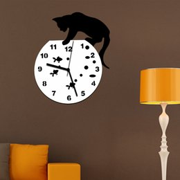 Wholesale Mirror 3d Wall Stickers - Tom and Jerry 3D Wall Clock Wall Mirror Sticker Clock Watch Mirror Stickers Home CAT Wall Decor Decals Wall Clock Modern Design