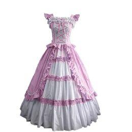 Wholesale Lolita Prom Dresses - pink short Sleeve Gothic Victorian Lolita Prom Dress Ball Gown Fancy Dress Halloween Party Costume S M L XL XXL