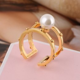 Wholesale Knuckle Bands - Hot sale brass material hollow Opening Ring Mid Finger Knuckle Rings with pearl spring combination Rings Geometry Style Jewelry PS5535