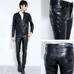 Wholesale Pu Leather Pants - Wholesale-New Mens Elastic Faux Leather Pants PU Motorcycle Ridding Black Slim Fit Trousers For Male