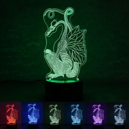 Wholesale Hall China - China Dragon Night Light usb power supply button-style seven-color led creative 3d home bedroom exhibition hall aisle atmosphere