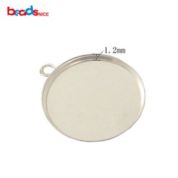 Wholesale Sterling Silver Pendant Blanks - 925 sterling silver pendant blank with bezel cup nice for your own gemstone, fit 20mm round, hole: 2.5mm, sold by PC, ID 27623