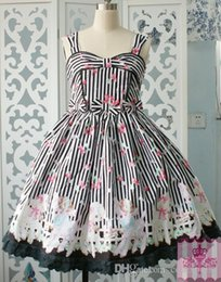 Wholesale Gothic Lolita Blue Dress - 2016 Brand New Cotton Sleeveless Printing FloralCotton Lolita Dresses For women Customized