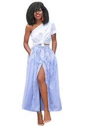 Wholesale Maxi Skirt Stripes - CRYG Vintage Skirts Faldas Saia 2017 Blue white stripes button front maxi skirt high waist party wear Winter Female Clothes