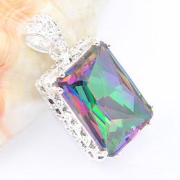Wholesale rainbow fire topaz jewelry - Fire 2PCS Lot Party Jewelry Gift Rainbow Mystic Topaz Gems 925 Silver Pendants for necklace wedding party gift jewelry