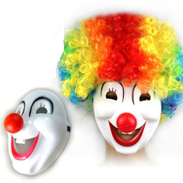 Wholesale Wigs Red Orange - clown masks and clown wig Christmas Party Cosplay whimsy mask halloween cartoon mask Red nose clown mask funny party supplies