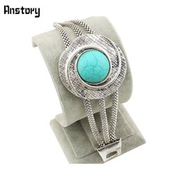 Wholesale Gold Costume Chain Set - Wholesale-Vintage Look Tibetan Silver Alloy Flower Turquoise Bead Costume Cocktail Cuff Bracelet Free Shipping B069