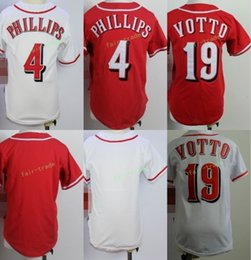 Wholesale Phillips Blue - 2017 Kids Stitched Cincinnati Blank 4 Brandon Phillips 19 joey votto White Red Youth Baseball Cool Base Jersey