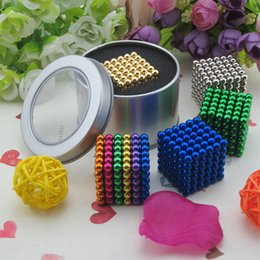Wholesale Pc Big Box - 216 pcs Diameter 5mm nickel neodymium Toy Cubes Puzzle Cube Toy Sphere Magnet Magnetic Balls 6*6*6 with Metal box