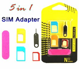 Wholesale Tools For Cell Phones - Aluminum Metal 5 in 1 Nano Sim Card Adapters Micro Sim Stander Sim Card Tool for iphone 6s 5s all cell phone Devices with retail box