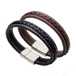 Wholesale Magnetic Bracelet White - Mens Stainless Steel Leather Bracelet Magnetic Clasp Black Brown Bangles Male Wristband FASHION Men Punk Jewelry