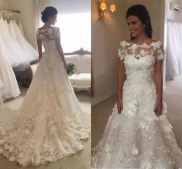 Wholesale Simple New Dress For Girls - 2017 New 3D Appliques Wedding Dresses with Short Sleeve Vestidos de Novia Sheer Jewel Neck Charming Wedding Gowns For Girls Bridal Dress