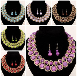 Wholesale Neon Crystals Wholesale - 2016 New Fashion Ethnic Chain Choker Vintage Rhinestone Neon Bib Statement Necklaces & Earring Dangle Women Jewelry Gift