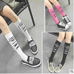 Wholesale Sport Socks Cotton - Fashion Girls VS PINK Print Socks Stockings Letter Printing High Knee Sport Children Girls Stockings Cotton Leg Warmers