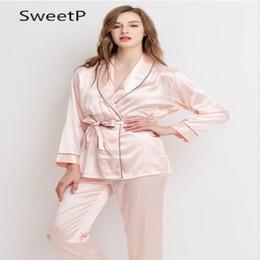 Wholesale Princess Pajamas Ladies - Summer spring Korean silk sexy black lady long sleeve leisure lapel pajamas ice silk princess home wear