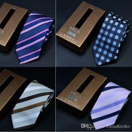 Wholesale Necktie Packaging - Nano Waterproof NeckTies 1200 Knitted Neck Tie 145*7cm 19 Colors with Box packaging stripe NeckTie High quality Leisure Arrow Men's Nec