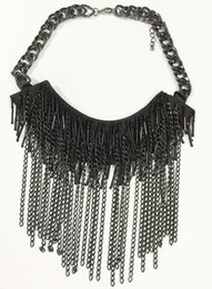 Wholesale sew string - Large aldo chain statement necklace Black chain sead beads Swag Statement Necklace black fabric hand sewing beads tassel necklace prebeauty