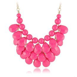 Wholesale Bubble Bead Necklaces - Trendy J-Crew Jewelry Bubble Bib Statement Necklaces Choker Colorfull Resin Bead Necklaces For Ladies CN001