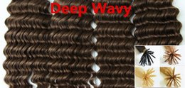 Wholesale Wavy Ombre I Tip Extensions - 5A Grade Deep Wavy 0.5g*200s 10''-28'' Black Brown Blonde Mixed Ombre Colors 100% Indian Remy Human Hair Extensions Stick I Tip