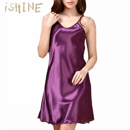 Wholesale Silk Wrap Robe - Wholesale- iSHINE Women Faux Silk Nightshirts Satin Nightgown Sexy Wrap Robe Ladies V-Neck Sling Sleepwear