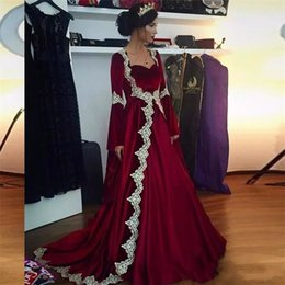 Wholesale Islamic Women Pictures - Burgundy Velvet Saudi Arabic Evening Dress 2017 Long Sleeve Lace Dubai Kaftan Islamic Women Elegant Formal Dress Abendkleider Custom Made