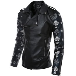 Wholesale Mens Suits Mandarin - Fall-Mens bomber jacket PU Material Motorcycle Suit fashion wear skeleton & Cross print Zipper Casual Biker Suit Street Clothes