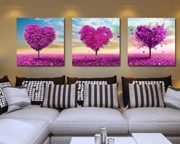 Wholesale Tree Pictures Decorative - 1set (3pcs) High-end love tree decorative painting, home living room decorative painting, frameless