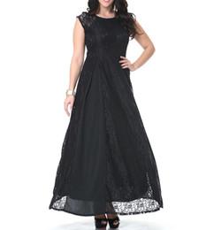 Canada Plus la taille 6XL sans manches polyester lambrissé robe de dentelle longueur de plancher longueur O forme maxi robe dames de la mode Offre