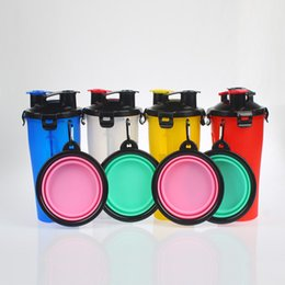 Wholesale Wholesale Dog Travel Water Bottle - Newest Dog Bowls Dual Chambered Bottle with Collapsible Pet Bowl Outdoor Pets Water Food Dual-purpose Cup WX-G05