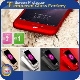 Wholesale Waterproof Case Glass Screen - iPhone 7 Plus 6 6S SE 5S 360 Case With Temper Glass Screen Protector Drgree Coverage Ultra Slim Waterproof Shockproof Free Shipping 10PCS