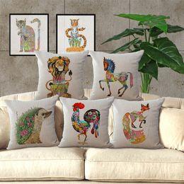 Ölfarbe gesetzt pferde online-Tier Totem Ölgemälde Pferd Hund Kissenbezug Kissenbezug Kissenbezug Leinenbaumwolle Home Soft Beddng Sets Weihnachtsgeschenk 240447