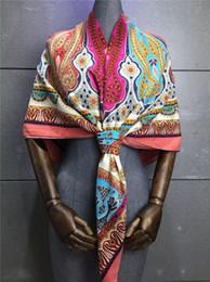 Wholesale Square Scarves Wholesales - 2016 fashion silk satin popular Elegant scarves square plaid scarf female girls size 140CM popular stria pattern printed free shipping