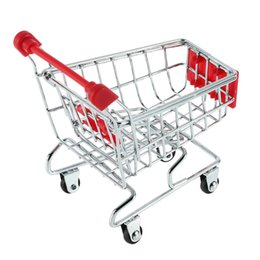 Wholesale Rack Supermarket - 1pcs Mini Supermarket trolley Shopping Handcart Phone Holder Baby Toy Newest Hot Search